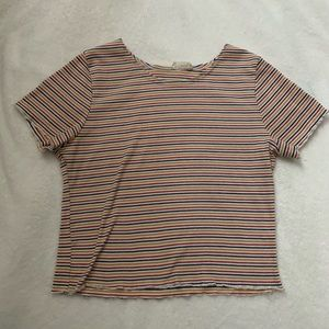 Women's | Tri Color Crop Top Tee Size Large